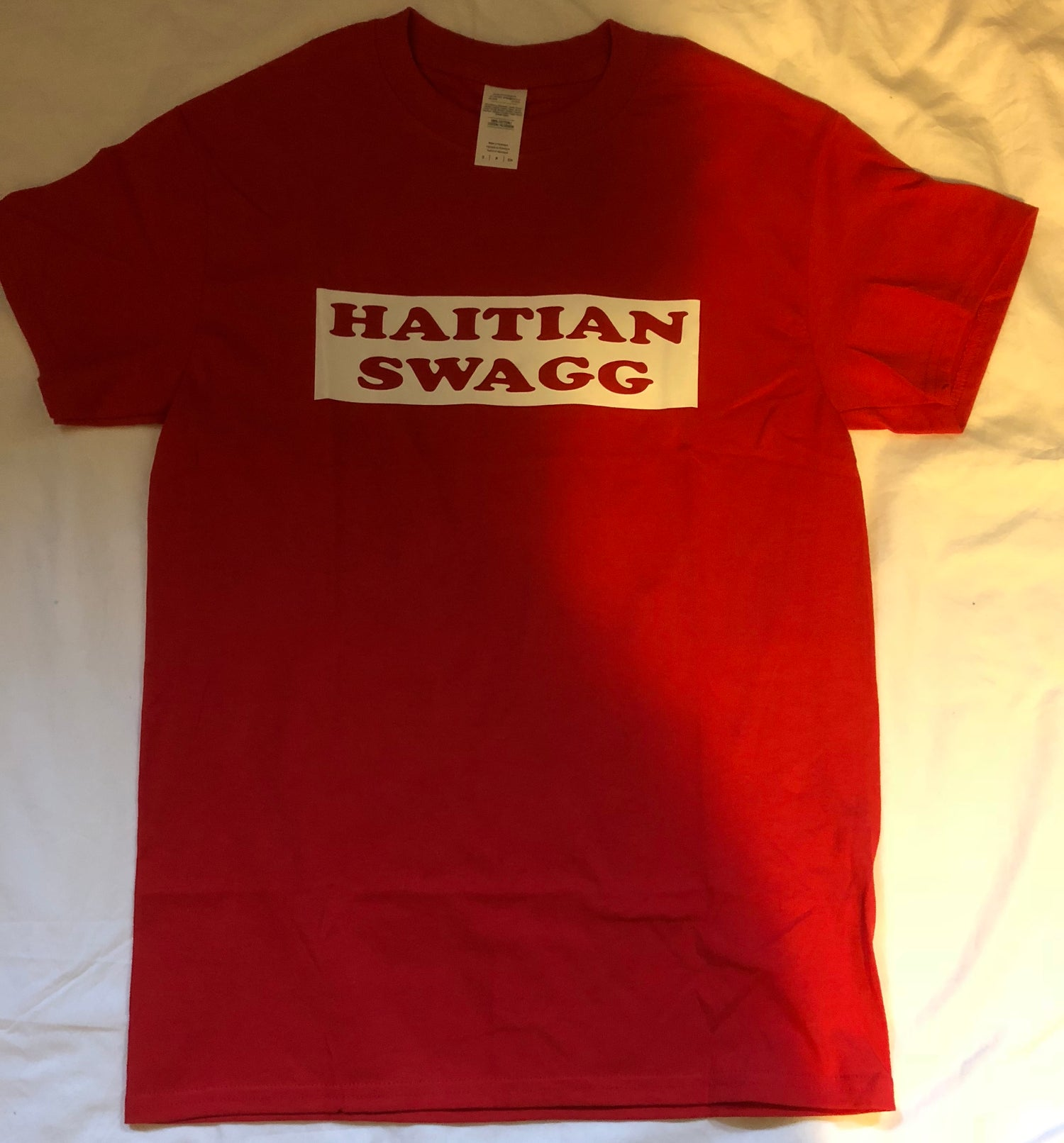Image of Haitian Swagg white and red , Red Tee