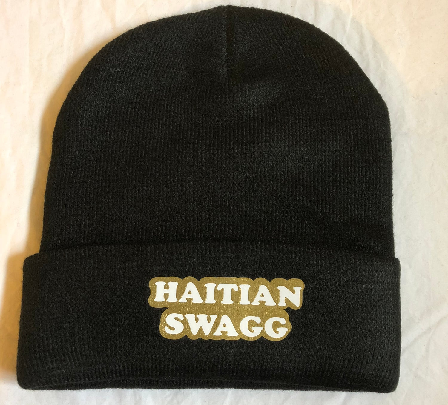 Image of Haitian Swagg white and gold Beanie