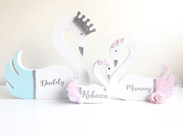 Image of BLUE AND PINK PERSONALISED SWANS