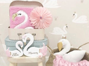 Image of PINK PERSONALISED SWANS