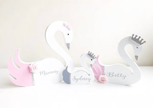 Image of GREY AND PINK PERSONALISED SWANS
