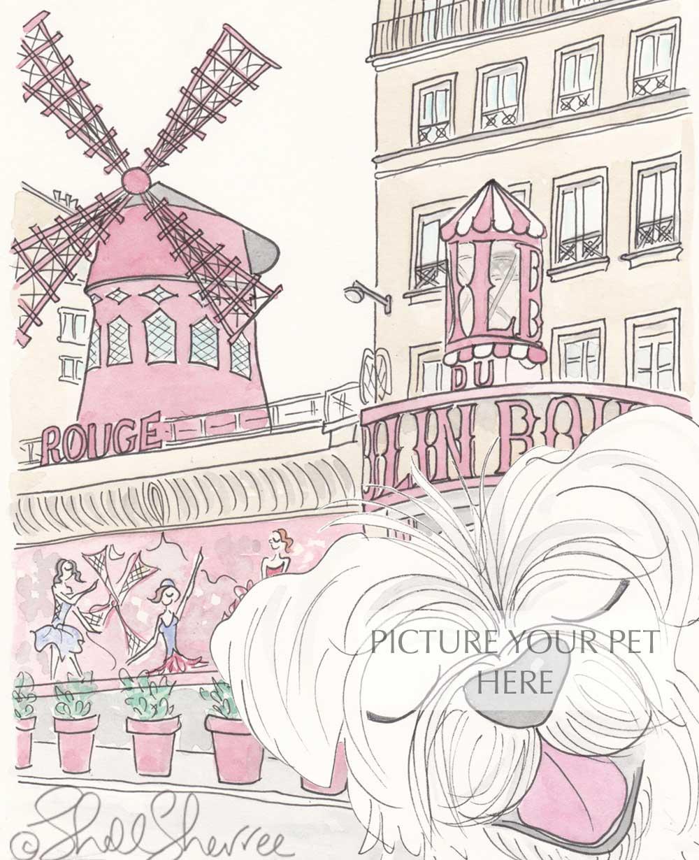 Image of Pet Portrait with Moulin Rouge Paris Setting