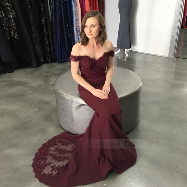 fc81c07eac30c Wine Red Off-the-shoulder Lace Appliques Bodice Mermaid Long Prom Dress  With Sweep Train