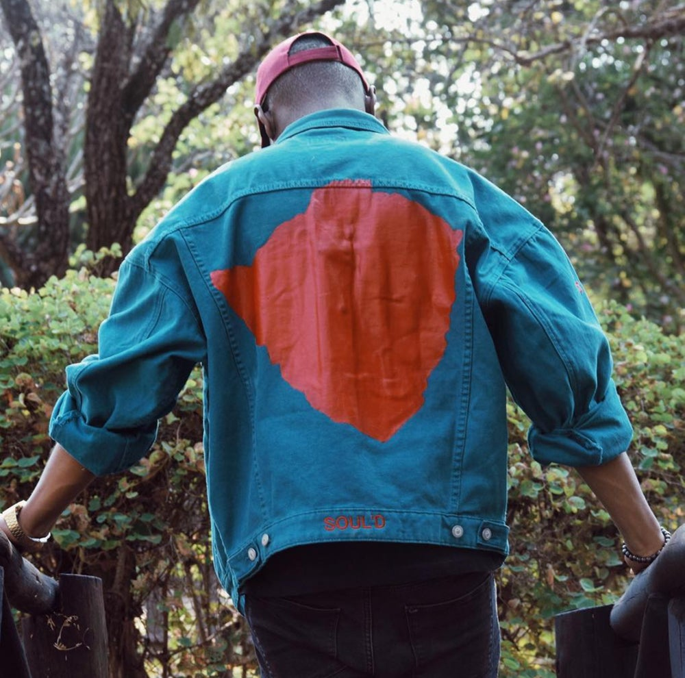 Image of Teal Soul'd Dreams Denim Jacket (M)