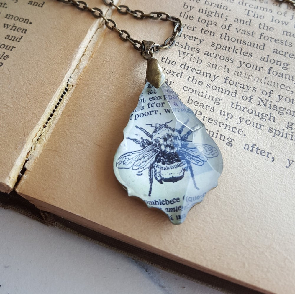 Image of Bumble Bee Vintage Dictionary Page & Salvaged Chandelier Crystal Necklace