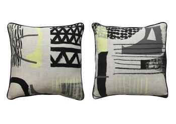 Image of 'Assemble / Configure' Cushion - Lemon, Slate, Black