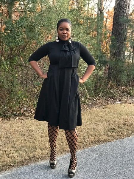 Image of Black Bow Neck Dress