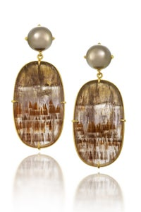 Image of Tahitian Pearl Cacoxenite Earrings