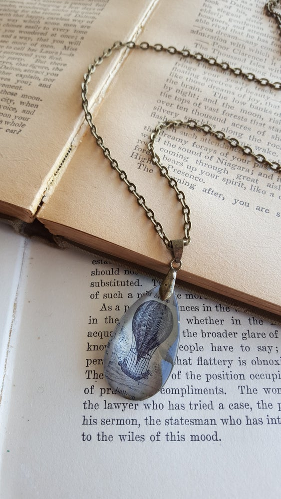 Image of Vintage Hot Air Balloon Book Page Illustration & Crystal Pendant Necklace