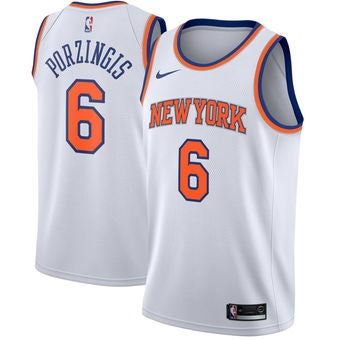 Image of Men's New York Knicks Kristaps Porzingis Nike Blue Swingman Jersey - Icon Edition