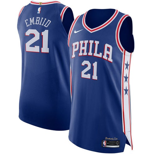 Image of Nike Men's Philadelphia 76ers Joel Embiid #21 White Dri-FIT Swingman Jersey