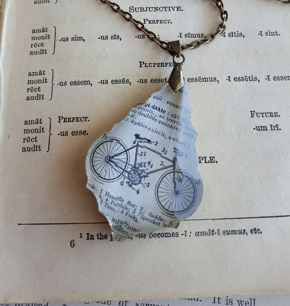 Image of Vintage Bicycle Dictionary Page Illustration Pendant Necklace