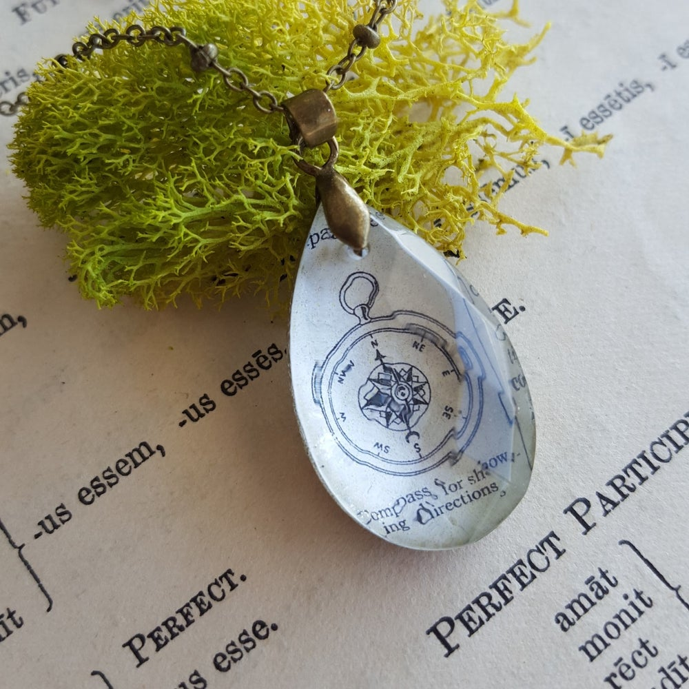 Image of Petite Compass Book Page & Salvage Chandelier Crystal Pendant Necklace