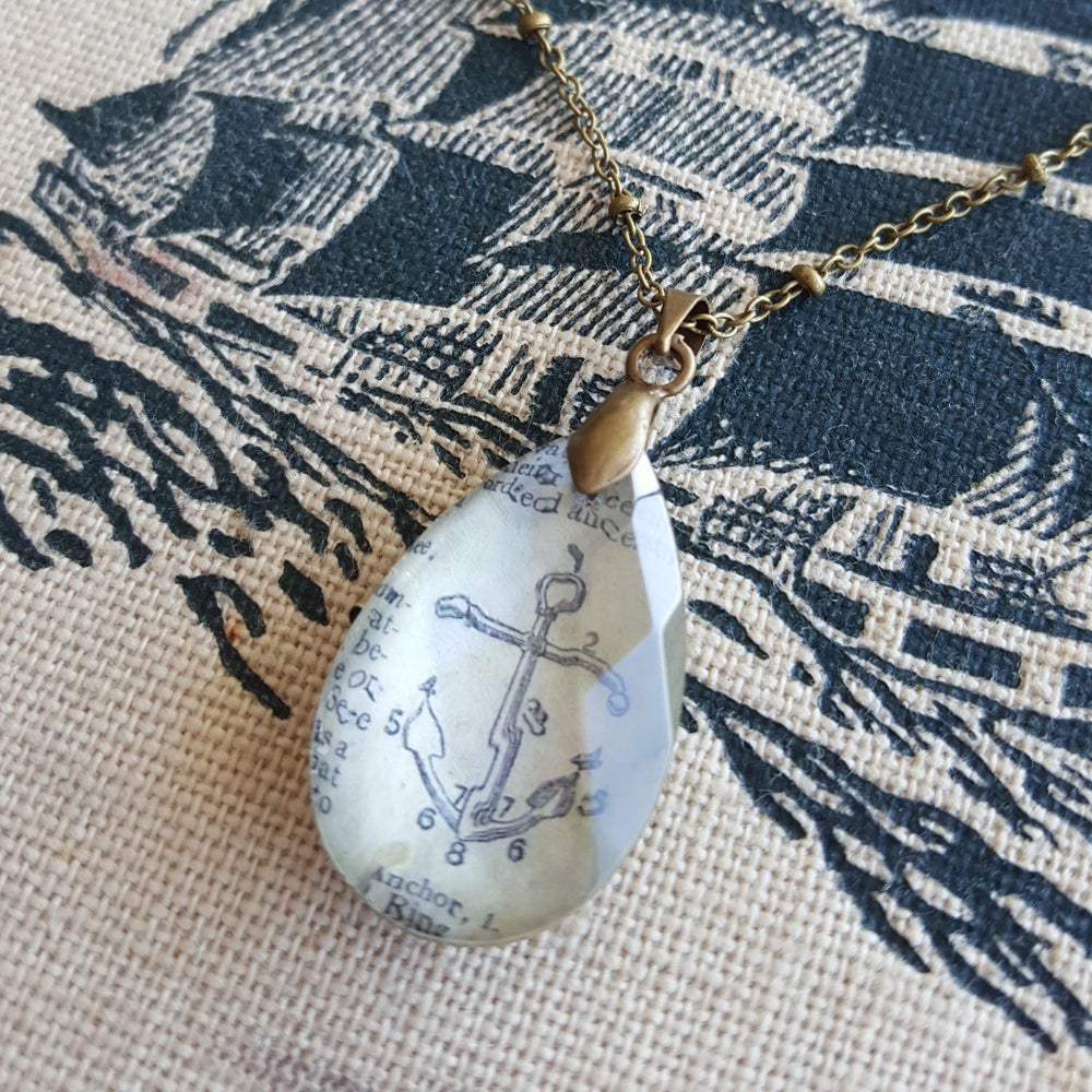 Image of Anchor Petite Salvaged Chandelier Crystal & Book Page Pendant Necklace