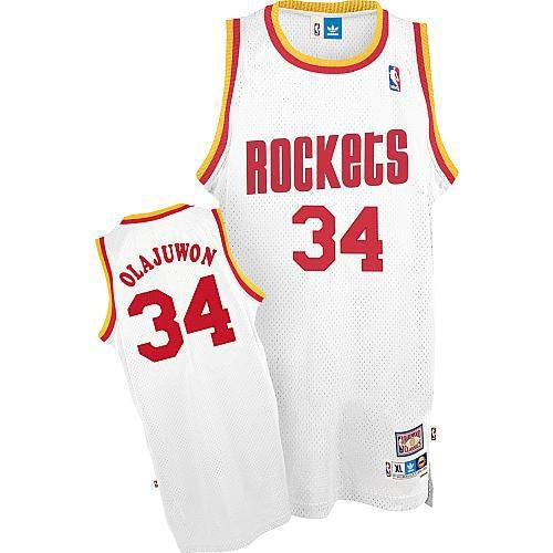 Image of Men's Hakeem Olajuwon #34 Houston Rockets Blue Swingman Throwback Jersey