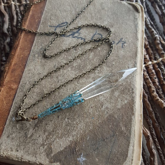 Image of Vintage Chandelier Crystal Drop with Verdigris Fillagree Necklace