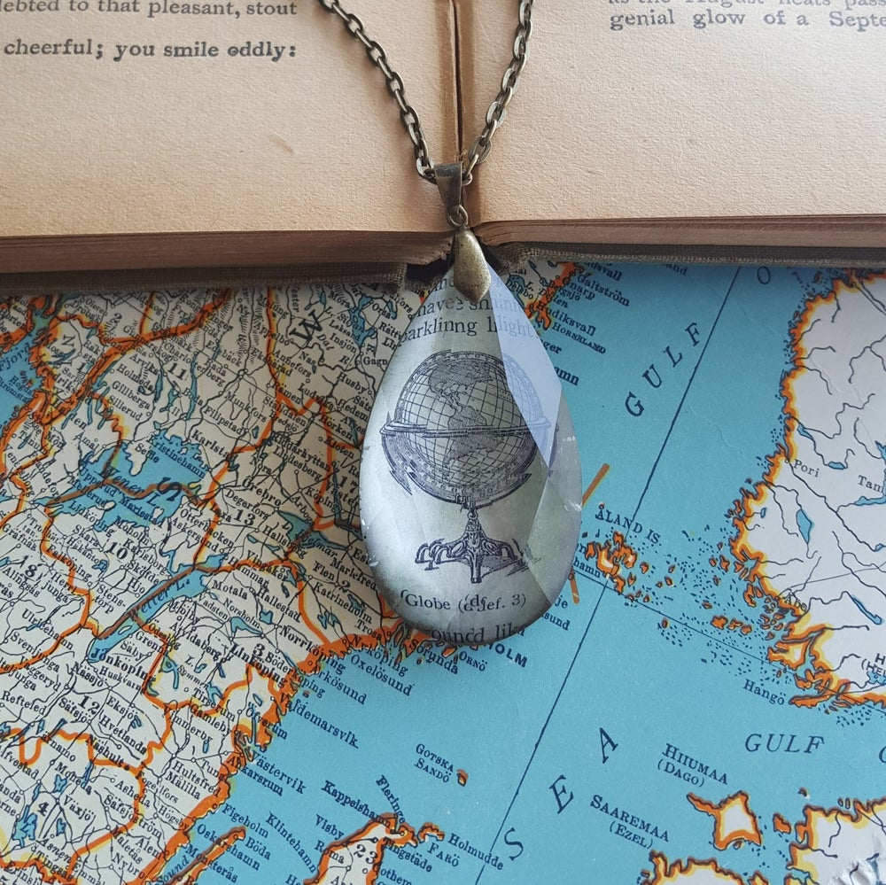 Image of World Globe Vintage Dictionary Page Pendant & Chandelier Crystal Necklace
