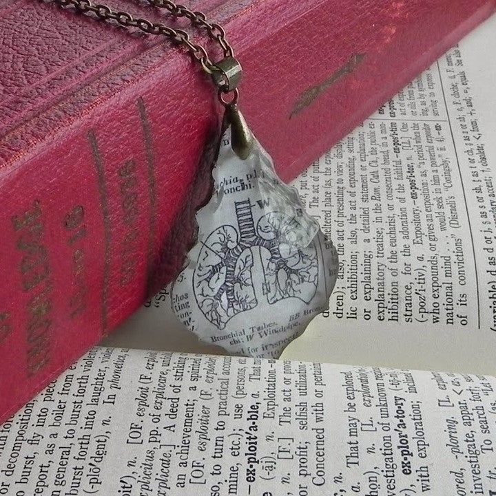 Image of Lungs Vintage Dictionary Page & Salvaged French Cut Crystal Necklace