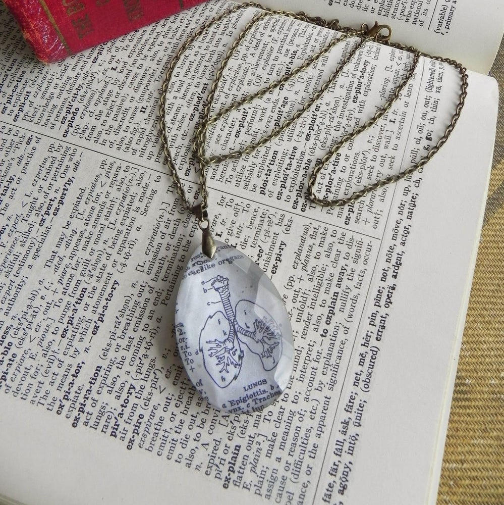 Image of Lungs Anatomical Book Page Pendant on Salvaged Chandelier Crystal