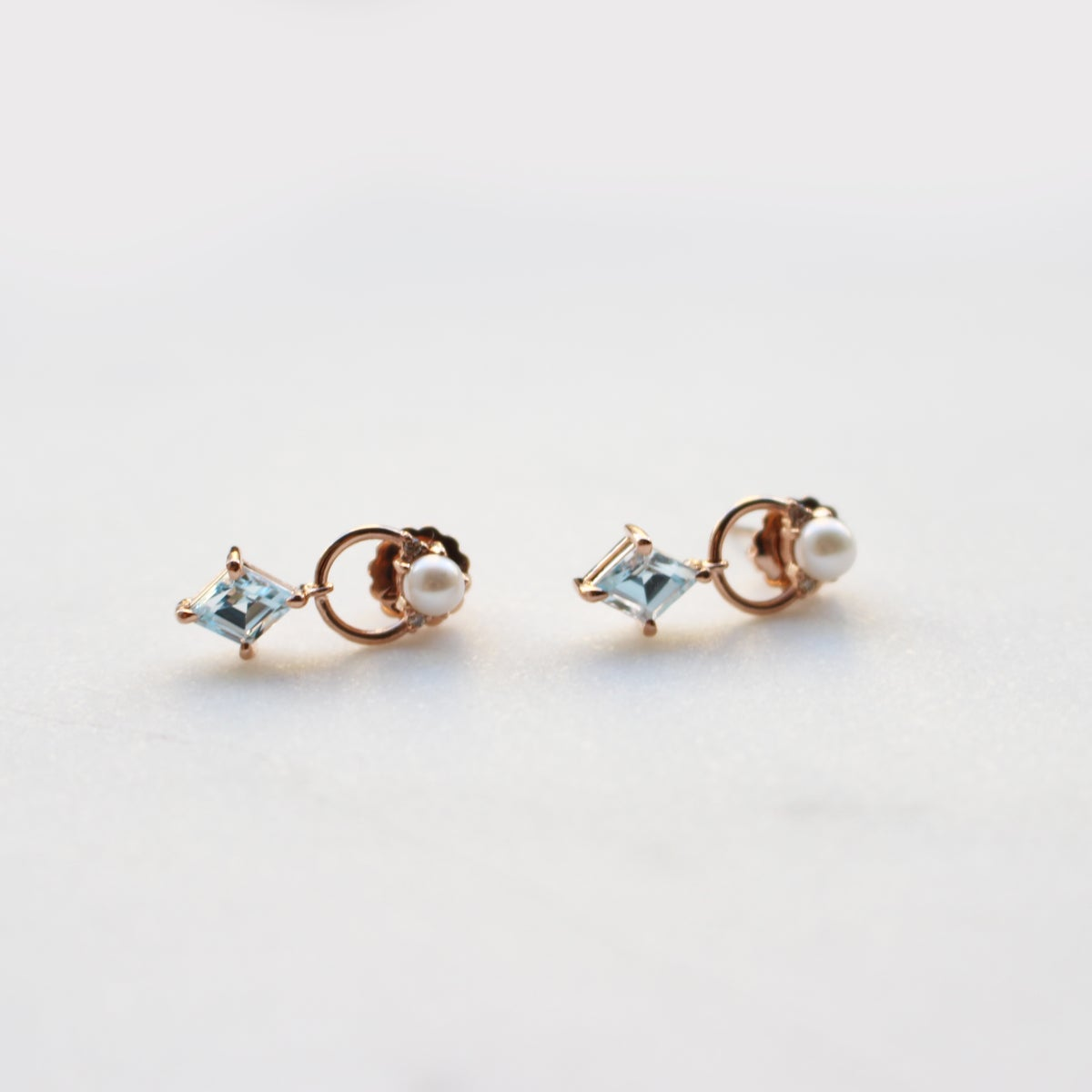 Image of Blue Topaz Door Knocker Earring