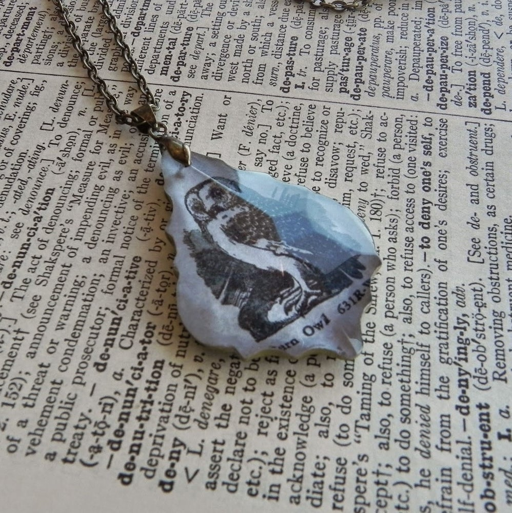 Image of Barn Owl Repurposed Chandelier Crystal & Vintage Page Pendant Necklace