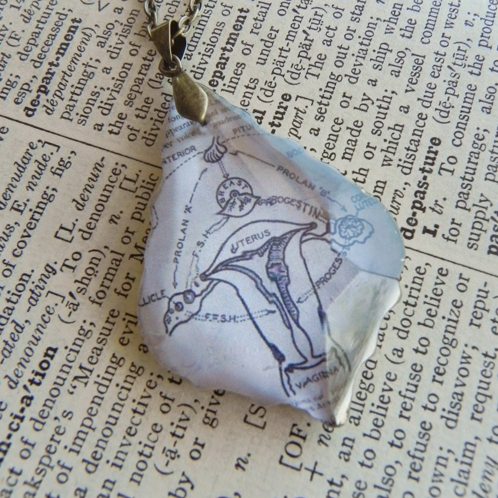 Image of Uterus Vintage Book Page & Repurposed Chandelier Crystal Pendant Necklace