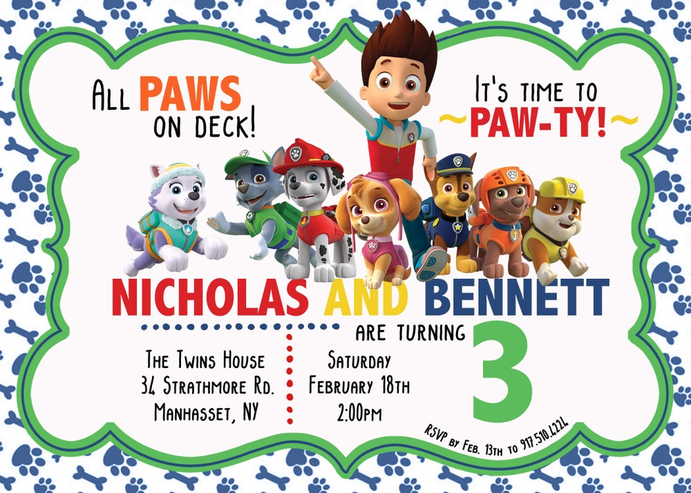 Image of Paw Patrol Birthday Invitations