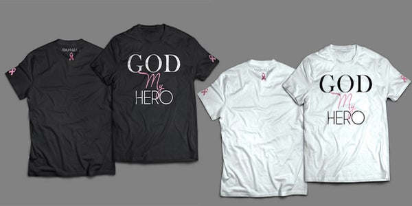 Image of GOD MY HERO BREAST CANCER TSHIRT