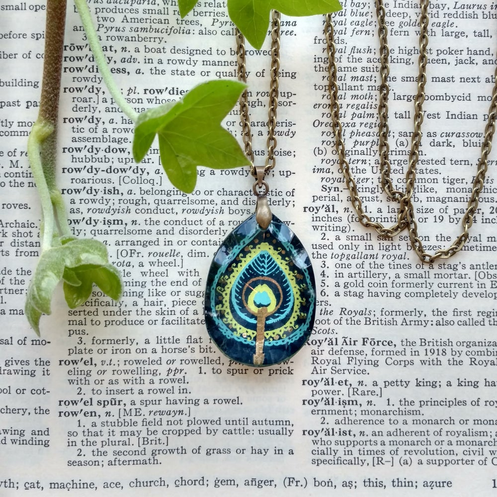 Image of Stylized Peacock Tibetan Block Print Salvage Chandelier Crystal Pendant