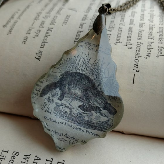 Image of Duckbill Platypus Vintage Book Page Pendant Necklace