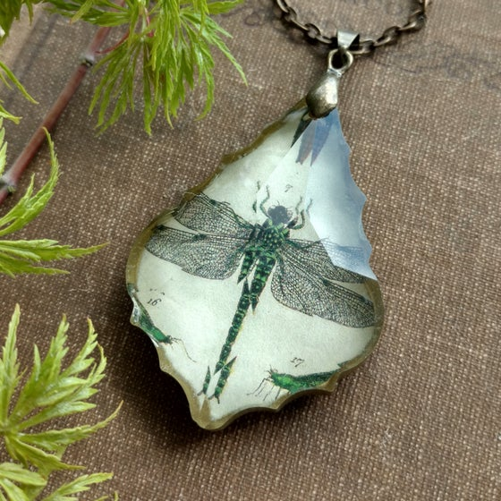 Image of Dragonfly Antique Book Page & Chandelier Crystal Pendant Necklace