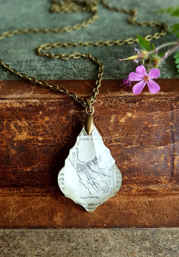 Image of Tattoo Repurposed Chandelier Crystal & Vintage Book Page Necklace