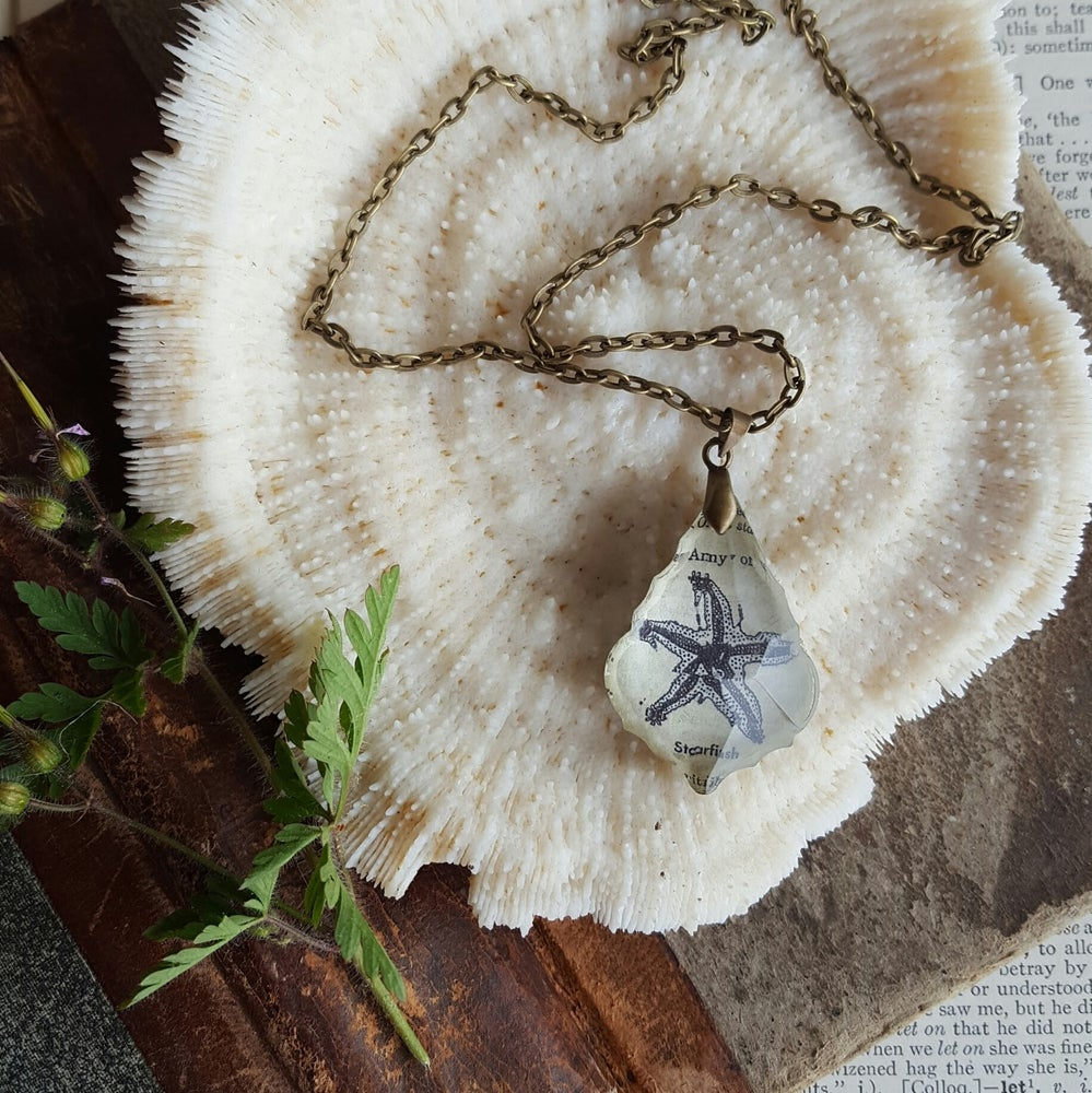Image of Starfish Repurposed Chandelier Crystal & Vintage Book Page Necklace