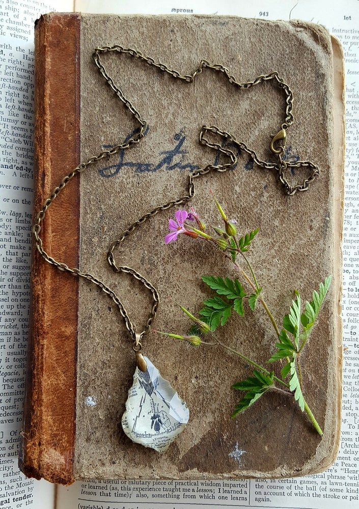 Image of Teepee Repurposed Chandelier Crystal & Vintage Book Page Necklace