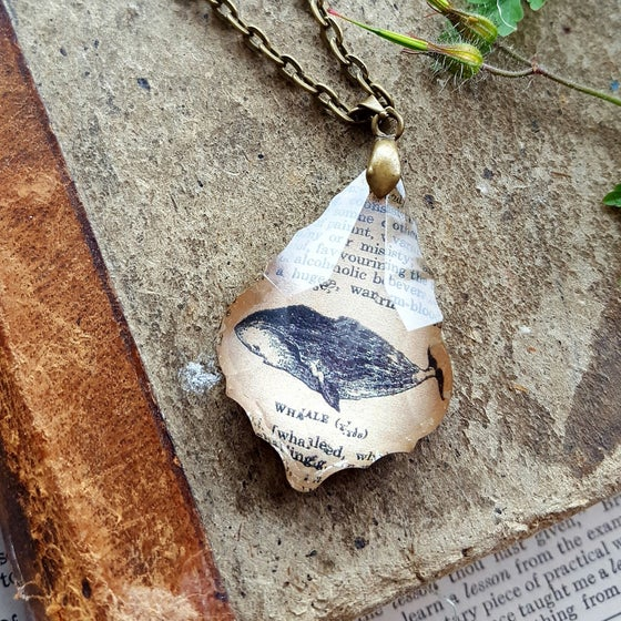 Image of Whale Antique Dictionary Page Pendant Necklace