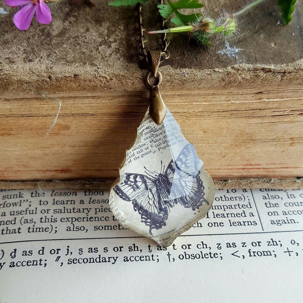 Image of Swallow Tail Butterfly Vintage Dictionary Page Pendant Necklace