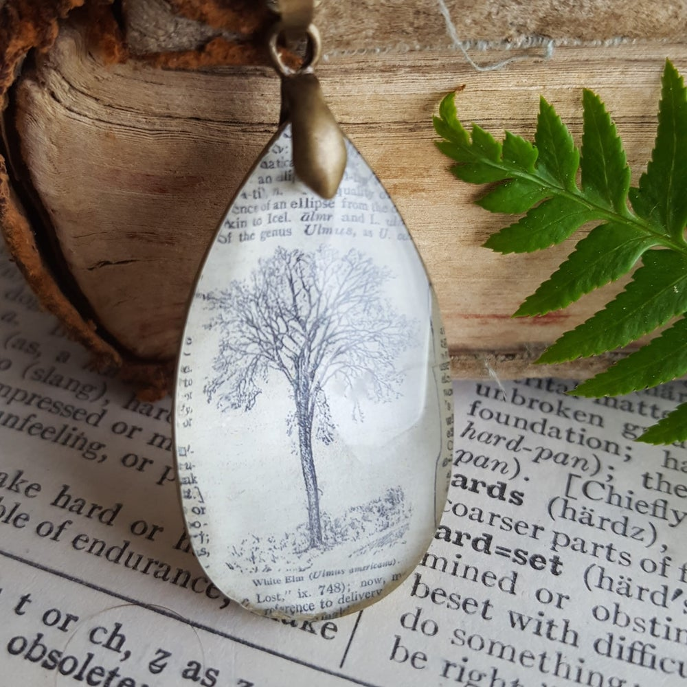 Image of Elm Tree Dictionary Page Illustration & Reupurposed Crystal Necklace
