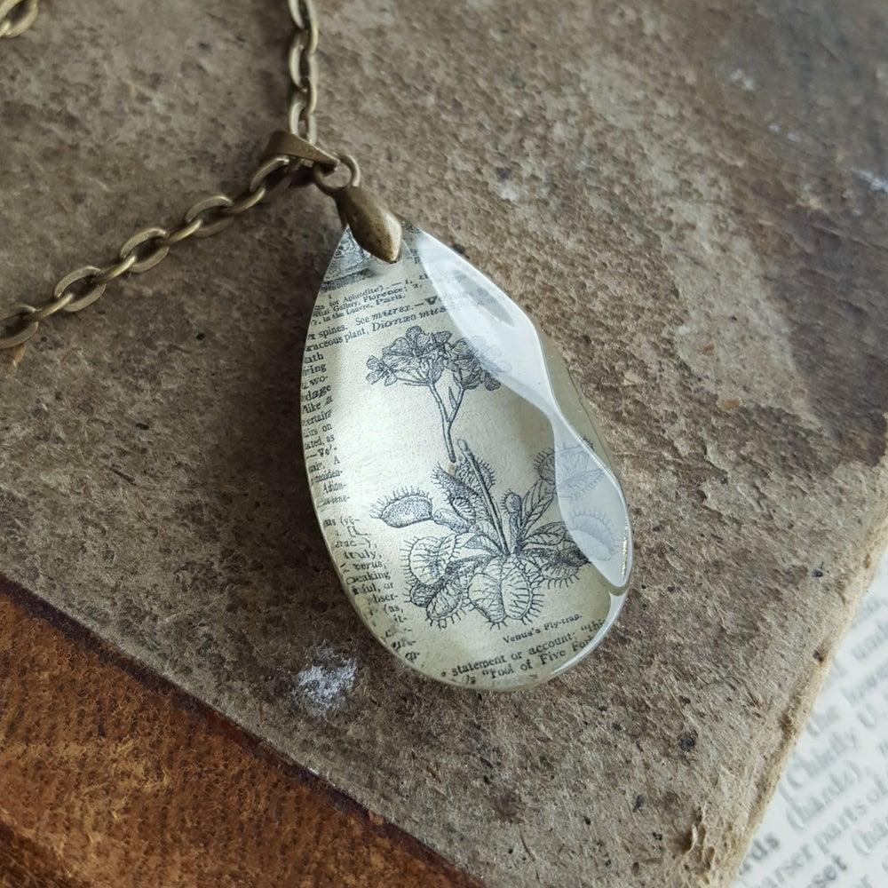Image of Venus Flytrap Vintage Dictionary Page & Salvaged Chandelier Crystal Necklace