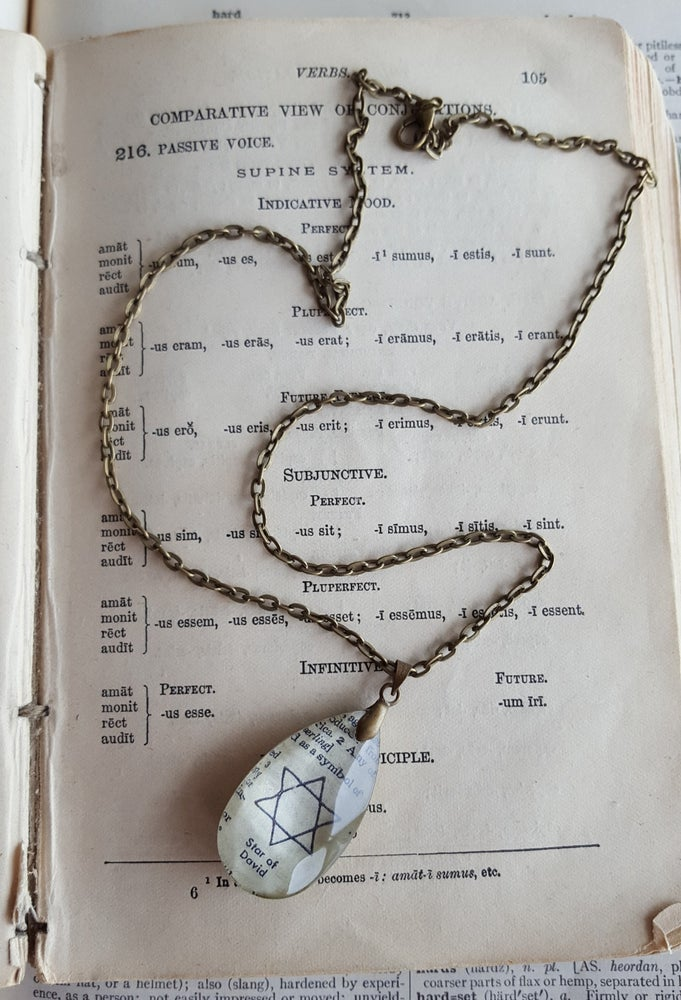 Image of Star of David Salvaged Chandelier Crystal & Book Page Pendant Necklace