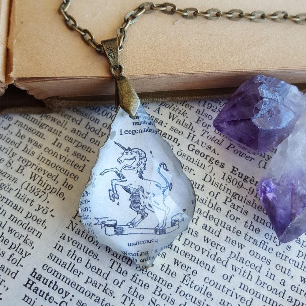Image of Magical Unicorn Repurposed Chandelier Crystal & Dictionary Page Necklace