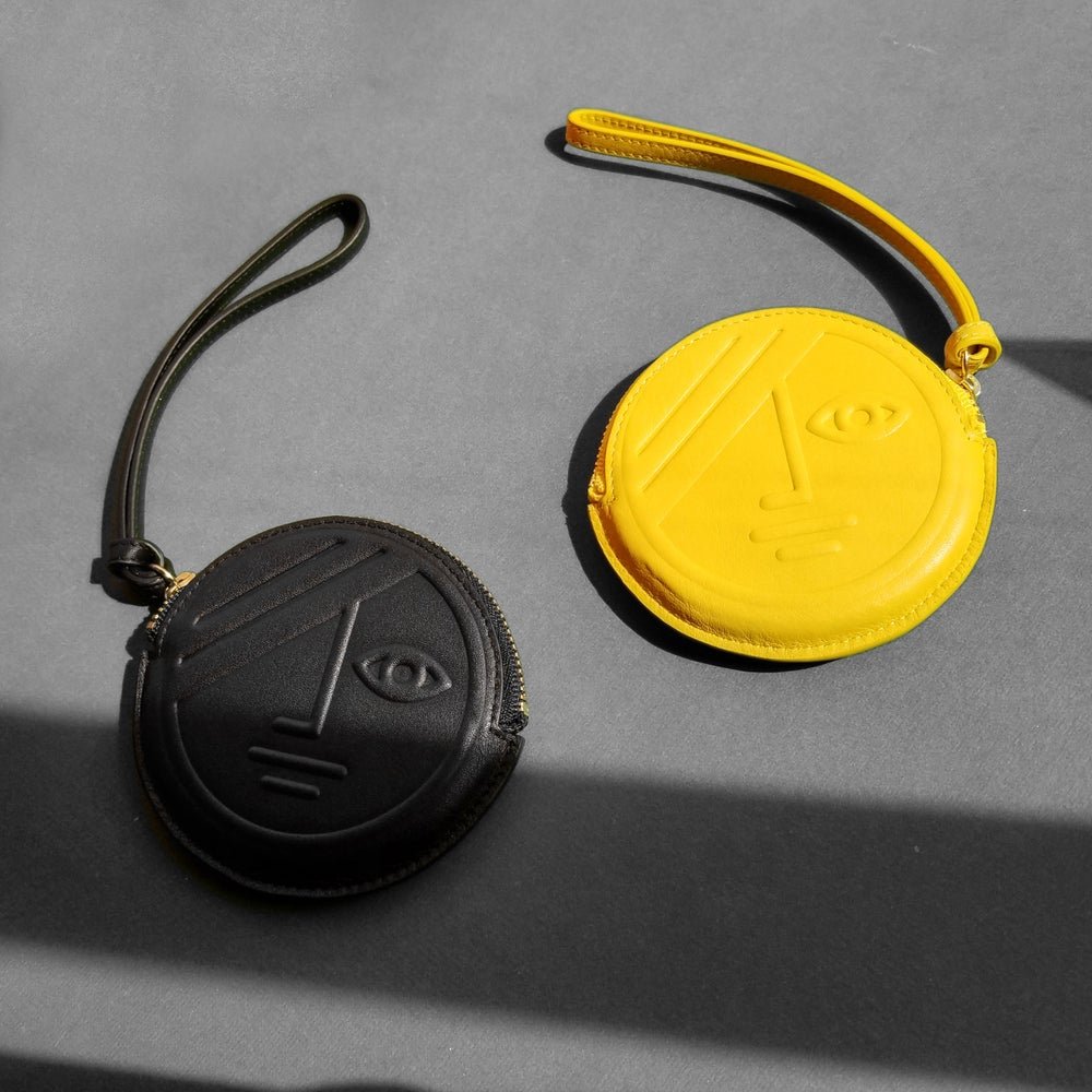 Yellow Phase / Black Eclipse Round Coin Purse