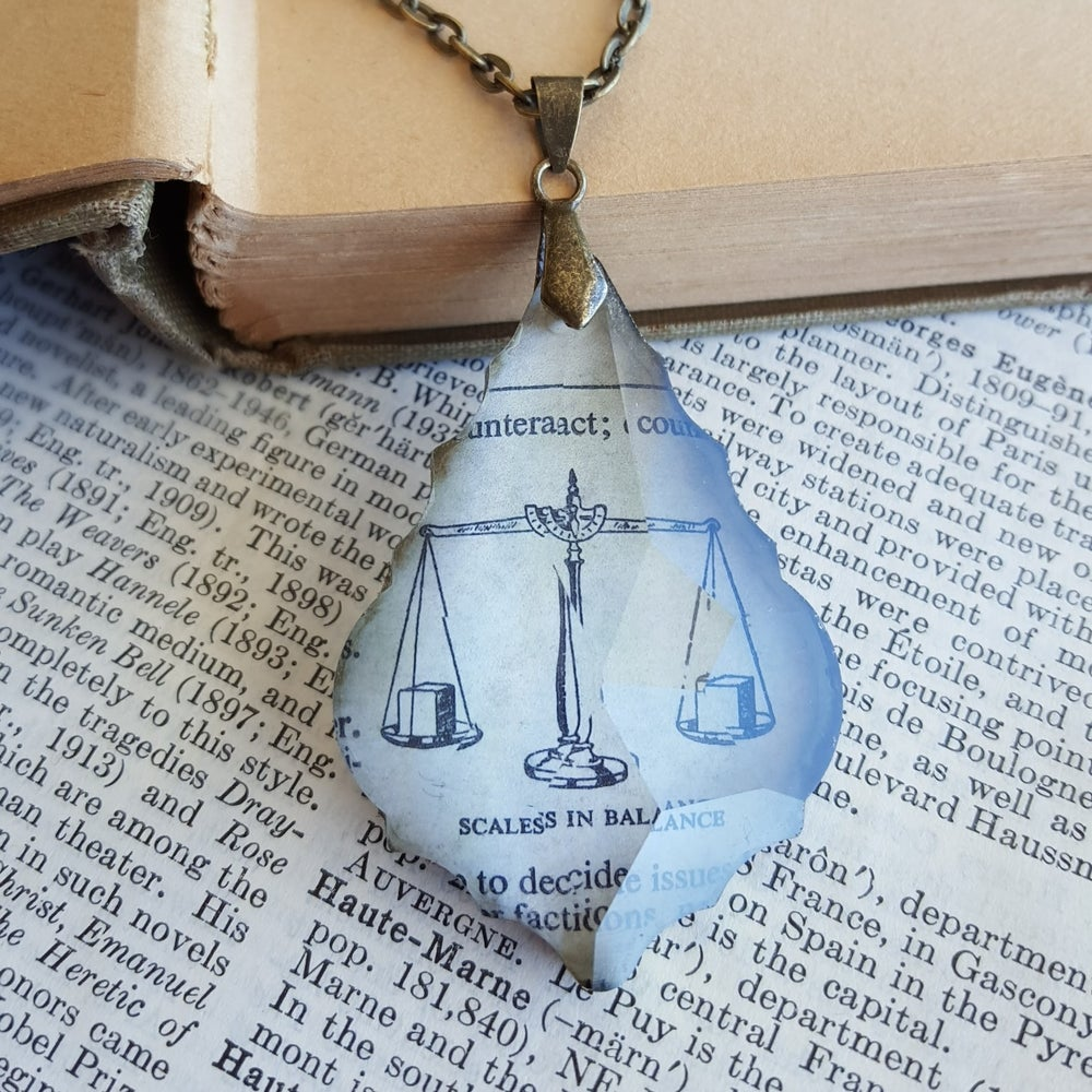 Image of Scales of Justice Vintage Dictionary Page and Chandelier Crystal Necklace