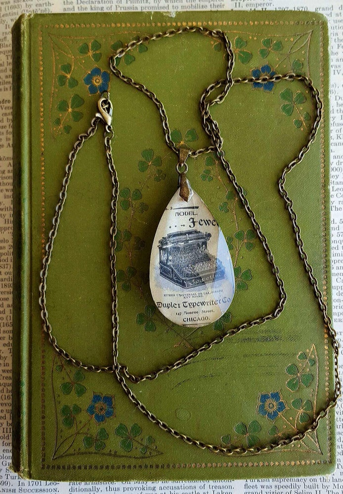 Image of Antique Typewriter Writers Salvaged Book Page Pendant Necklace