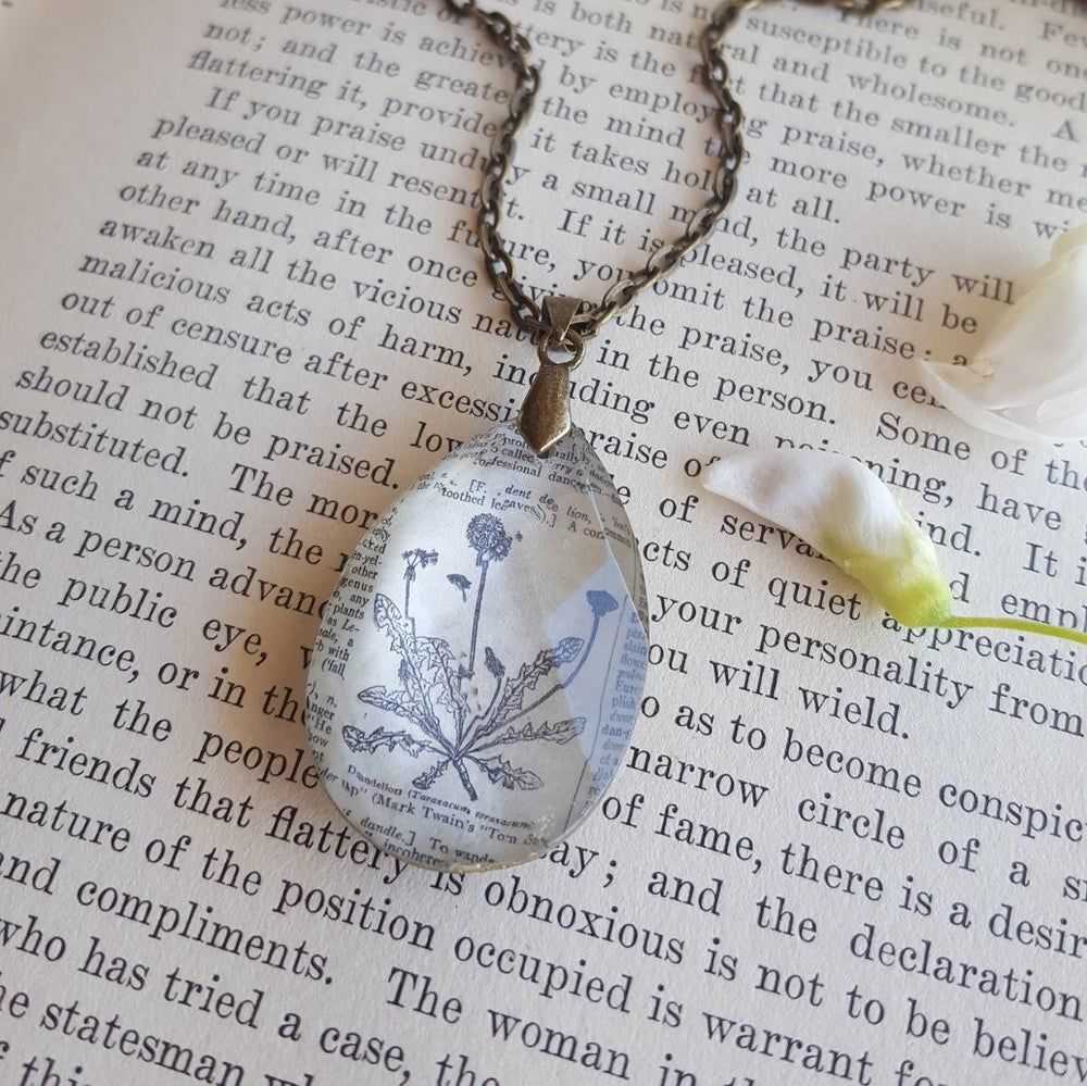 Image of Dandelion Make a Wish Repurposed Crystal & Book Page Pendant