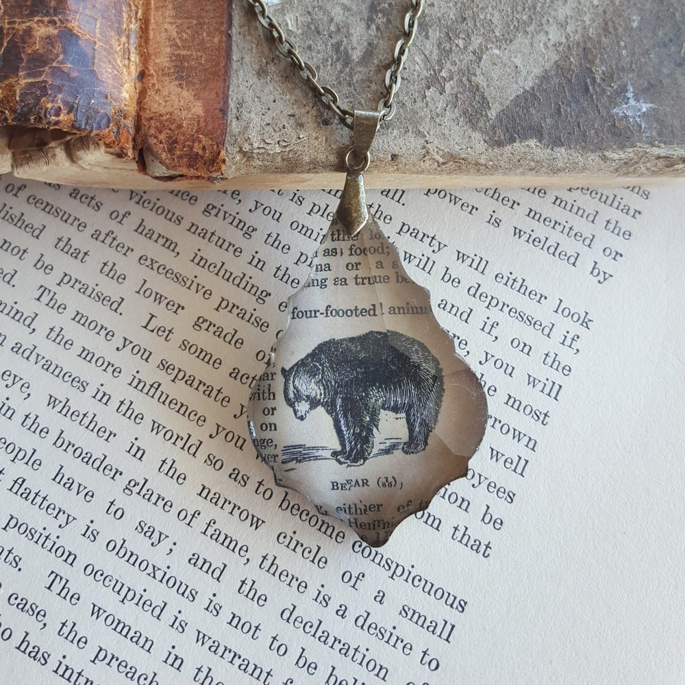 Image of Mama Bear Vintage Book Page & Salvaged Chandelier Crystal Necklace