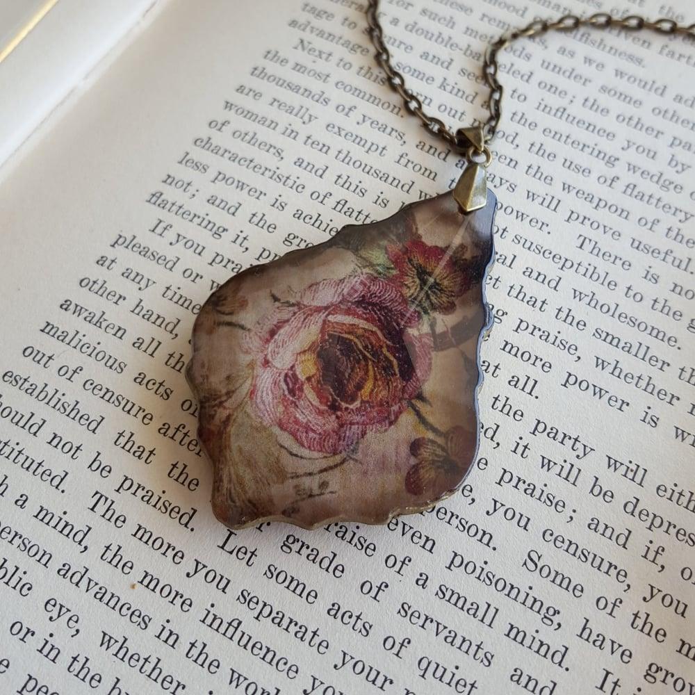 Image of Vintage Cottage Roses Salvaged Chandelier Crystal Pendant Necklace