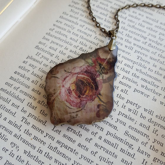 Image of Vintage Cottage Roses Salvaged Chandelier Crystal Pendant Necklace
