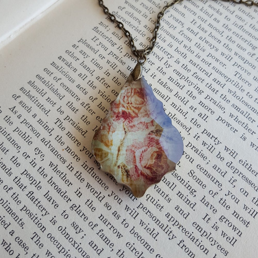 Image of Vintage Roses Salvaged Chandelier Crystal Pendant Necklace