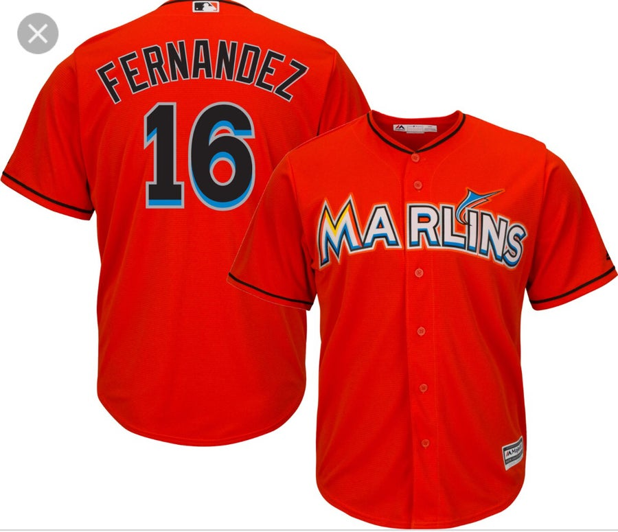 "Image of Miami Marlins ""Jose Fernandez"" Jersey alternate orange"