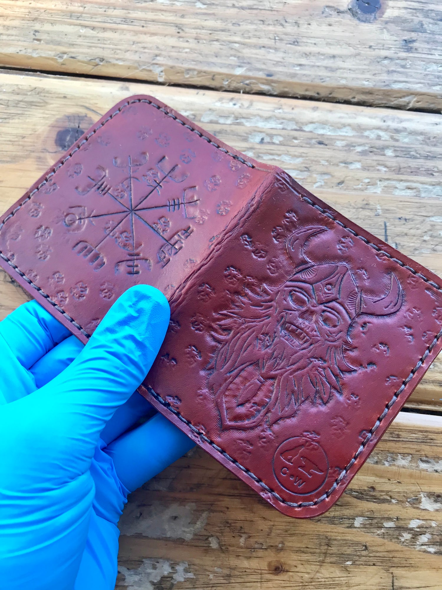 """Image of """"Vegvisir & Viking"""" Four Slot Bi-Fold Wallet"""